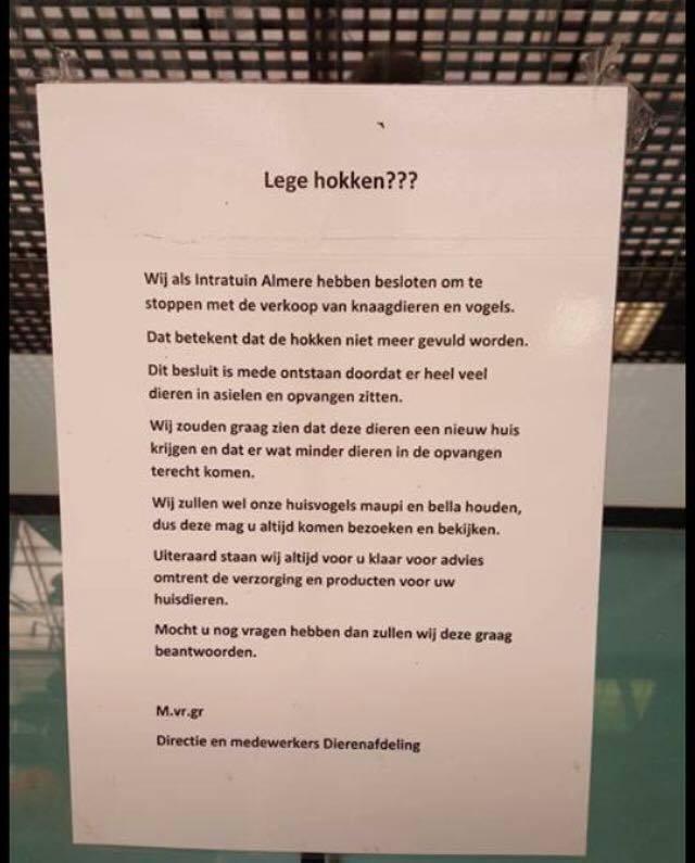 Intratuin Almere stopt met verkoop knaagdieren en vogels - Almere ...